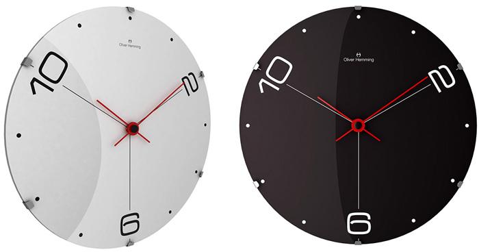 北欧ならではのデザイン 大きな掛け時計シンプルな文字盤と赤の秒針にコダワリありミッドセンチュリーウォールクロック掛時計 壁掛け時計お部屋のインテリアを際立たせるデザイナーズクロック「2・6・10」ホワイト ブラック ドームガラス