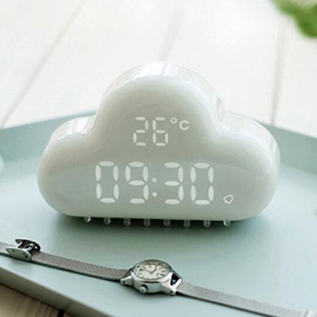 ... Digital Alarm Clock Emerald Green Pink White LED Digital Alarm Clock  Cloud Time U0026amp; Calendar ...