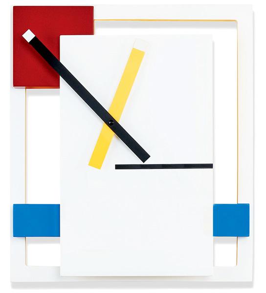 オランダで生まれた近代デザイン 壁掛け時計シンプルで幾何学的な形や線文字盤とガラスで構成されたウォールクロックホワイト×レッド×レッド×ブルー×ブラック原色などの基本的な視覚的要素に基づく抽象的でミニマリスト的な美学を掲げた