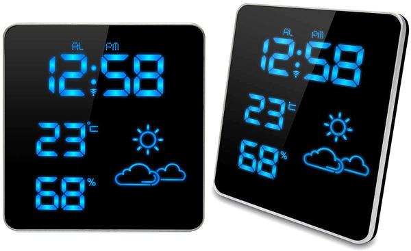 LEDウェザーステーションLEDクロック スクエアフラット暗闇でも時間を確認できるスヌーズ機付き目覚まし時計時&温度&湿度&天気予報を表示ブラック×ブルーLEDアラームクロック光度調整可能付きデスククロック 置き時計