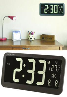 時間自動補正機能付き壁掛け時計ワイドディスプレイパネル電波時計ブラックフレーム 置き掛け兼用ひとめで見やすい大型ディスプレイ月日&曜日&温度表示アラーム&スヌーズ機能付きインテリアカレンダーウォールクロック