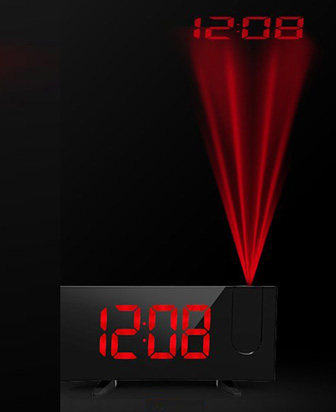 プロジェクション目覚まし時計ブラック×レッドLED プロジェクタークロック天井や壁に投影して時刻を表示デジタル表示 デスククロックPROJECTION LED CLOCK暗い寝室では照度を落としてデュアルアラーム機能曲面5インチディスプレイ