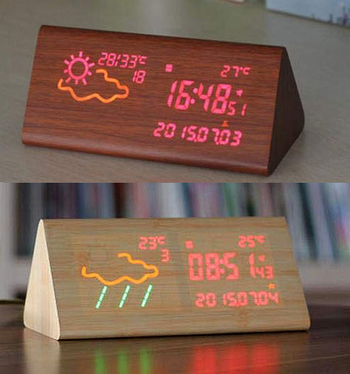 天気予報&時刻が一目でわかるMDF木製LED目覚まし時計ウェザーステーショントラスプリズムクロック木目調のディスプレイから浮かび上がる日付けカレンダー温度&年月日時分秒表示ナチュラル ダークブラウン レッドLED