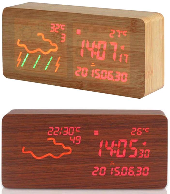 超人気 天気予報&時刻が一目でわかるMDF木製LED目覚まし時計ウェザーステーションアールクロック木目調ディスプレイから浮かび上がる日付けカレンダーナチュラル ダークブラウン レッドLED丸みのある落ち着いたフォルム アラームクロック, チクシグン:949c6d1e --- paulogalvao.com