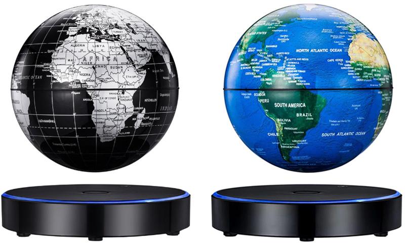 浮いて回転する不思議な地球儀MAGNETIC GLOBE 15cmブルーラインLEDブラック円盤ベースマグネット 電源を入れると磁力が発生し地球儀が中に浮きますブラック×シルバ ブルー浮遊地球儀 お子様の入学祝いやプレゼントに