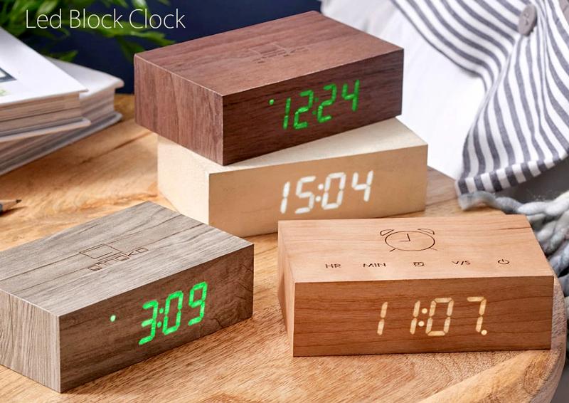天然木目の内側から浮かび上がる時刻表示LEDウッドクロック置時計暗闇でも時間をはっきり確認できるLEDクロックアッシュ ウォルナット ホワイト キャメルブロックデスククロックタッチセンサー搭載目覚まし時計
