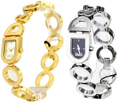 D & G 手表 d & g 模拟手表一天 & 奈黑色 x 银 / 金杜嘉班纳昼与夜 DW0130 DW0143 d & g 妇女 Dolce & 杜嘉班纳配件手镯