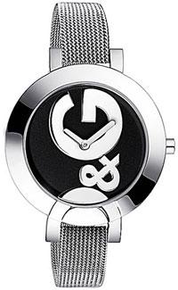 D&G ウォッチフープ エルエーラウンドフェイスブラック×シルバーロゴ文字盤 腕時計HOOP-LAメタルベルトドルチェ&ガッバーナDOLCE&GABBANA DW0521SLドルガバレディース 女性