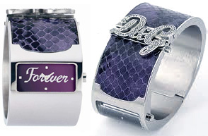 DOLCE&GABBANAD&G 腕時計 型押しスネイクスキンバングルウォッチシルバー×パープル DW0136 DW0137ゴールド×ブラウン DW0134ラインストーンロゴJAWS ジョーズドルチェ&ガッバーナドルガバ ディーアンドジーレディース ブレスレット