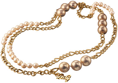 D&G DOLCE&GABBANAジュエリーネックレスドルチェ&ガッバーナゴールド×シャンパン シルバー×ブラック ダブルチェーンネックレスパール&3連ボールペンダントFaux DJ0670GD DJ0671SL Jewelry Necklaceドルガバ レディースPearl Chain Necklace