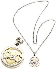 D&G ドルチェ&ガッバーナ DOLCE&GABBANAペンダントネックレス シルバーリングインロゴ ゴールドハートファッション アクセサリードルガバ HEART ディー&ジー