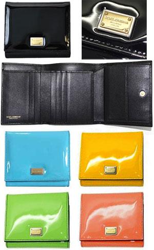 DOLCE & GABBANA D & G Dolce & Gabbana purses with putting tri-fold long wallet enamel coated leather yellow light blue salmon pink light green black 80204 80621 80241 80520 Tsubakimoto 80999 slim long tri-fold wallet-BI0088 A1067