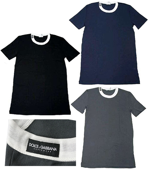DOLCE&GABBANA D&Gドルチェアンドガッバーナメンズ半袖Tシャツグレー ネイビー ブラックM10339-OM452N0497-B0310-N0000ドルガバ ネックロゴ