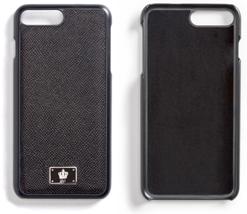 DOLCE&GABBANA D&GiPhone7 アイフォンケースドルチェ&ガッバーナ7plus ドルガバ 王冠ブラック ネイビー クラウンロゴプレートドーフィンカーフレザーパネルアイフォンカバー 携帯ケース87741NV87741BK DAUPHINE