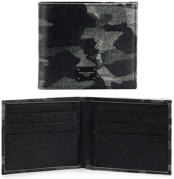 ドルチェ&ガッバーナDOLCE&GABBANA D&Gメンズ グリーン系迷彩柄×ブラック二つ折り財布 カードケースブラックロゴプレート2つ折り財布 札入れドーフィンカーフレザーD&G NERO ディー&ジー クラック加工
