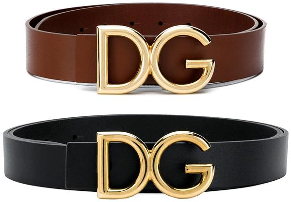 DOLCE&GABBANAドルチェ&ガッバーナドルガバ レザーベルトゴールドDGロゴプレートバックルブラック ブラウンD&G LEATHER BELT