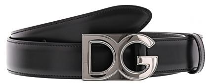 DOLCE&GABBANAドルチェ&ガッバーナDGロゴプレートバックルメンズレザーベルトブラック ドルガバLEATHER BELT D&G 80999BK