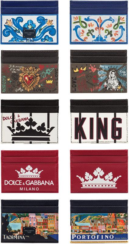 DOLCE&GABBANA D&Gドルチェ&ガッバーナパスケース カードケースホワイト×ブルー ブラウン×ブラックブラック 伝統的シチリア陶器柄ホワイト×ブラッククラウンホワイトブラッククラウンレッド×ホワイトクラウンプリントレザー
