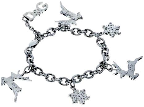 DOLCE&GABBANA D&Gドルチェ&ガッバーナシルバーブレスレットトナカイ&雪の結晶ラインストーンクリスマスチャームチェーンブレスディーアンドジー 腕輪アクセサリー プレゼントにメンズ レディース ドルガバACCESORY BRACELET