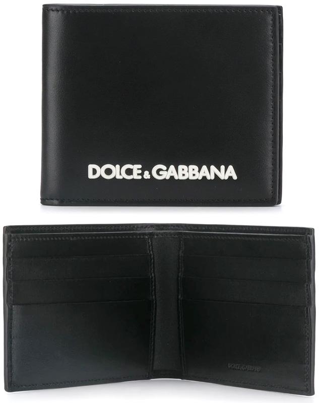 DOLCE&GABBANA D&Gメンズ 二つ折り財布ホワイトラバー立体3Dロゴカードケース 札入れブラックカーフレザー ドルガバ80999BKNEROドルチェ&ガッバーナ 2つ折財布 小銭入れ無しさいふ サイフ ウォレットカード入れ