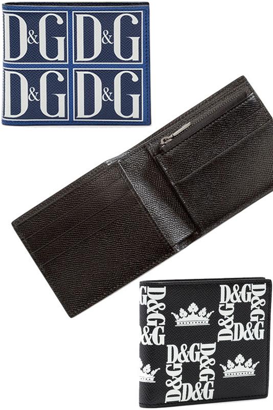 419134839a42 DOLCE&GABBANA D&G メンズ小銭入れ付き二つ折り財布ドルガバ ドーフィンカーフレザーゴールド×ホワイト
