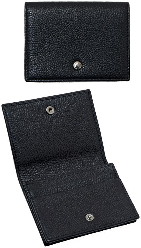 DOLCE&GABBANA D&Gドルチェ&ガッバーナ ドルガバ二つ折り名刺入れ カードケースロゴ刻印ホック 型押しカーフレザー2つ折り定期入れ 名刺ケース レザーメンズパスケース ディー&ジーCARD PASS CASE 80999BK