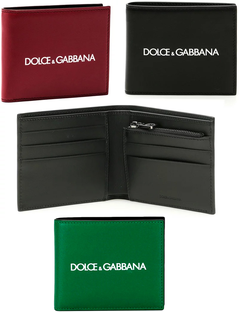 DOLCE&GABBANA D&Gドルチェ&ガッバーナ ドルガバファスナー小銭入れ付き二つ折り財布ブラック ダークレッド ホワイトロゴメンズ 2つ折り財布ウォレット サイフ さいふディー&ジー カーフレザーHRI43REHNI43BK
