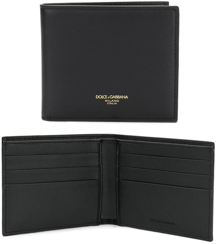 DOLCE&GABBANA D&Gドルチェ&ガッバーナメンズ二つ折り財布 ブラックカードケース ドルガバ箔押しロゴ ブラックロゴプレートD&Gロゴプリント カーフスキンレザー2つ折り財布 札入れテキストグラフィティプリント