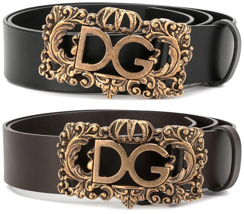 DOLCE&GABBANA D&Gドルチェ&ガッバーナDGロゴラグジュアリープレートバックルアンティークゴールド牛革 レザー ドルガバ ディー&ジーブラック80999ユニセックス 男女兼用 メンズ レディース