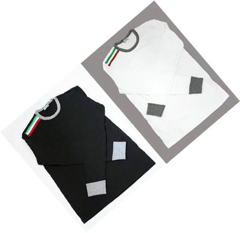 DOLCE&GABBANA D&Gドルチェアンドガッバーナ ドルガバメンズ 長袖Tシャツ ブラック ホワイトM10515-OM520-N0000 -W0800ドルガバ ロンT長袖Tシャツ ショルダーイタリーライン