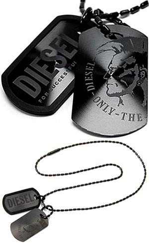 DIESEL ペンダントネックレスディーゼル ダブルプレート ドッグタグ ブラック×ブラックアクセサリー メンズPENDANT NECKLACEDX0014Sunstray Dog- Mens