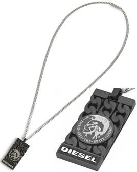 DIESEL ペンダントネックレスディーゼル  ブレイブマンドッグタグプレートホワイトプリントアクセサリー メンズ レディースPENDANT NECKLACEユニセックスライン 男女兼用