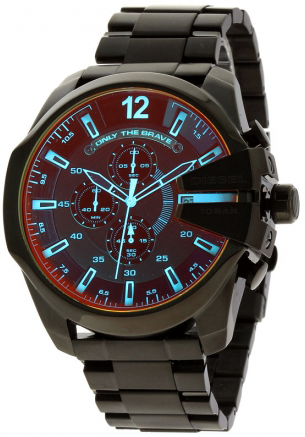f42f778048dd DIESEL watch diesel chronograph mens quartz analog metal band black  character Edition stainless steel mineral glass
