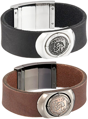 7e9b40a070033 Stylish accent DIESEL leather bracelet diesel Braverman hook Black Silver  stainless steel accessories men and women and for men's women's LEATHER ...