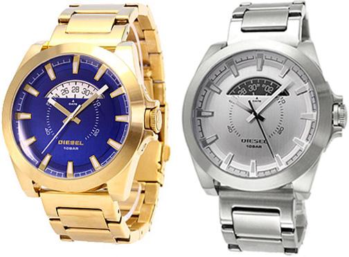 DIESEL ディーゼル 腕時計アナログウォッチ メタルバンドゴールド×ブルー シルバー アージェス メンズウォッチ 丸型ARGES ディスク日付け表示