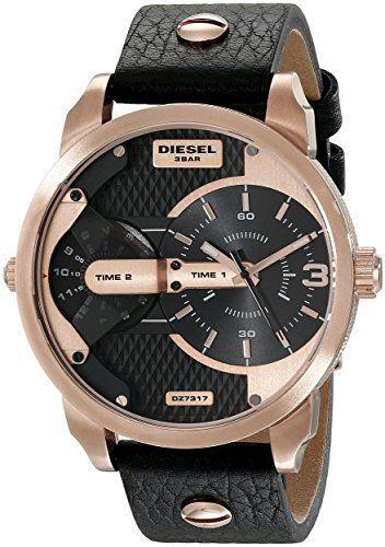 DIESEL ディーゼル 腕時計2つの時間を一気に表示 デュアルタイムローズゴールド×ブラックアナログメンズ ウォッチ 日常生活防水2タイムゾーンブラックレザーベルト ラウンドシェイプGold Case Quartz Men's Watch