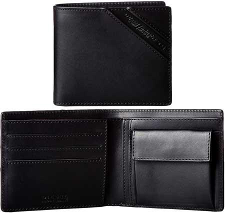 DIESEL ディーゼル小銭入れ付き2つ折り財布ベジタブルタン加工ブラックイタリアンレザースラッシュエンボスロゴサイフ さいふ ウォレットRAWFLAG HIRESH S wallet