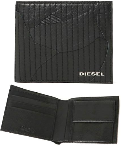DIESEL ディーゼル メンズ小銭入れ付き二つ折り財布メタルロゴ 2つ折り財布パッチワークイタリアンデニムブラックシープスキンソフトレザー二つ折りウォレットLEATHER GAME HIRESH S WALLET