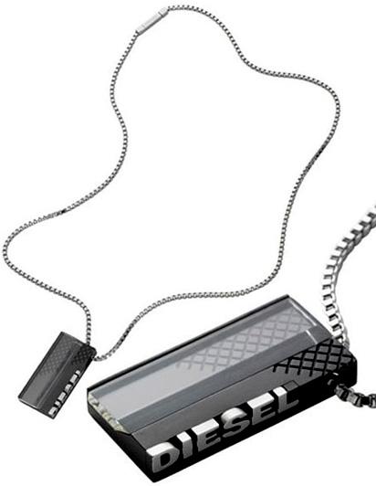 DIESEL ペンダントネックレスディーゼル サイド立体3Dロゴガンメタブラック×シルバーアクセサリー メンズ レディースPENDANT NECKLACEユニセックスライン 男女兼用