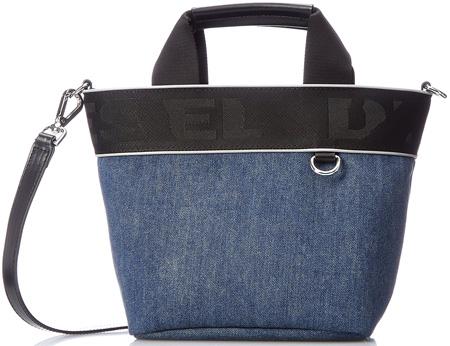 DIESEL ディーゼル2WAYトートバッグインディゴブルー×ブラックロゴラインショルダーバッグ ショッピングバッグウォッシュドデニム取り外し可能ショルダーストラップカバン バック 鞄SHOULDER & TOTE shopping bag