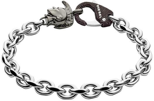 DIESEL ディーゼル シルバーブレスレットガンメタブレイブマンロゴボタンリンクチェーンブレス ブラッククラブフックホックアクセサリー メンズ アームバンドMen's Bracelet JEWELLERY