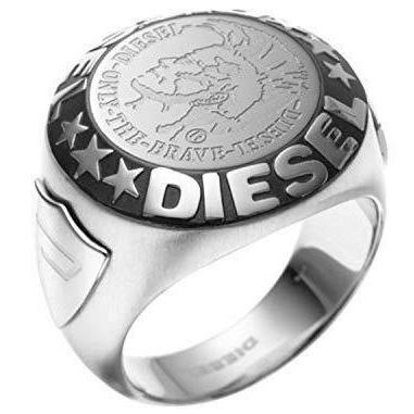DIESEL ディーゼル リングシルバー 指輪 ロゴ&スターメンズ ステンレススチールブレイブマン 星Men's STAINLESS STEEL RINGONLY THE BRAVE 00DJW