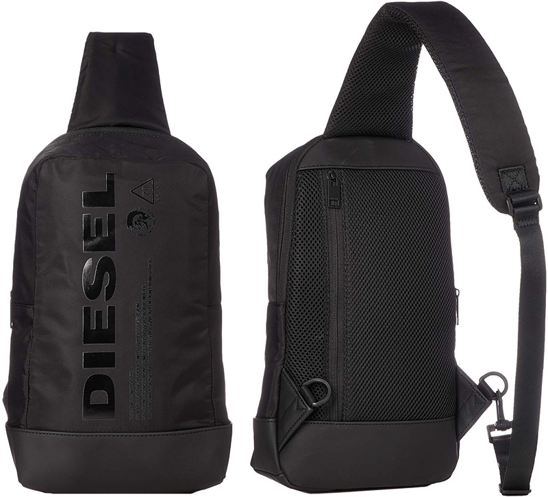 DIESEL ディーゼル ボディーバッグブラック ワンショルダーバッグ何かと便利な背面ファスナーカバン バック 鞄 甲羅鞄ブラックロゴ クロスボディバッグスゲガナブレイブマンロゴH5067BK エフスセモノ モヒカングラフィック