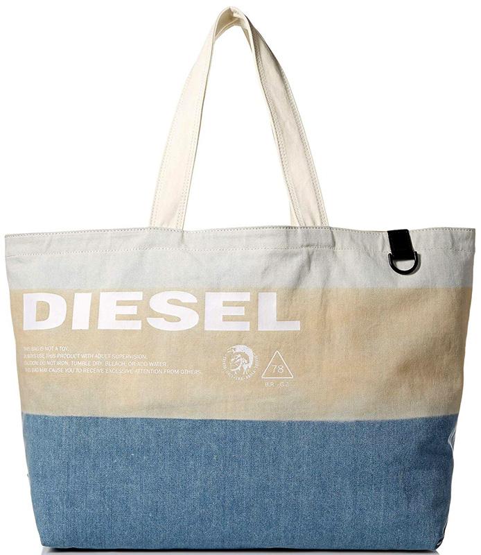 DIESEL ディーゼルアイシーカラーショッピングトートバッグホワイトロゴ モヒカンプリントデニムブルー生地×ベージュ×ホワイトオールシーズン使えるシンプルスタイルショルダーバッグ かばん 鞄 カバンSHOPPING TOTE BAG H7065WHBEBL