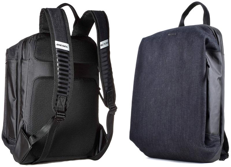 DIESEL ディーゼル メタルロゴリュックサック デイパッグサイドファスナーポケットダークネイビー×ブラックタウンユースバックパック上質質デニム素材BACKPACK H6488DNVインディゴブルー かばん バック 鞄 カバン