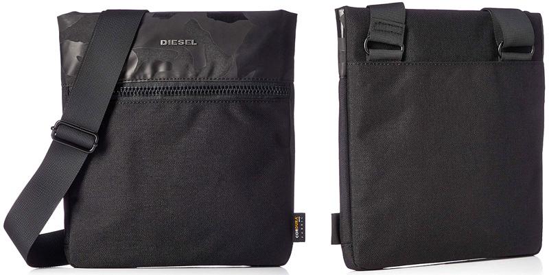 DIESEL ディーゼル ミニショルダーバッグブラック メタルロゴフロントファスナーポケットポシェット かばん 鞄 カバンアブストラクト柄コーデュラナイロン デイリーユースアーバンユーティリティーH6103BK SHOULDER BAG