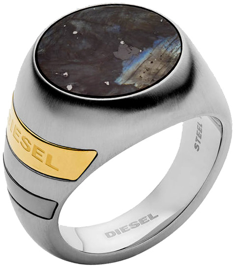 DIESEL ディーゼルメンズ シルバーリングラウンドブラックラブラドライトロゴ刻印マルチライン 指輪STAINLESS STEEL & SEMI PRECIOUS RING