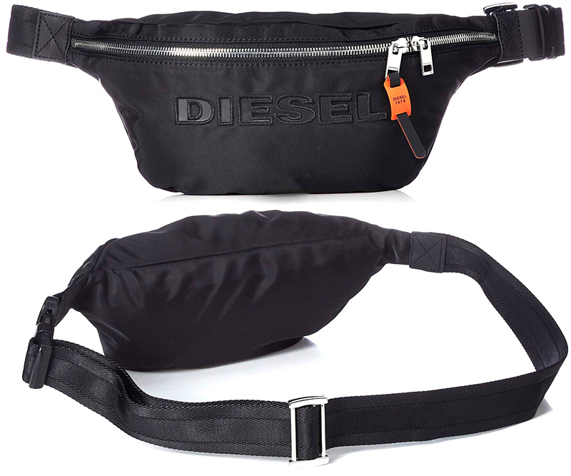 DIESEL ディーゼルウエストポーチ ボディーバッグブラック×オレンジアクセントスライダーストラップインディゴブルー DSL 1978ヒップバッグ ウエストバッグワンショルダーバッグクロスボディバッグ カバン バック 鞄 甲羅鞄T8013BK BELTBAG