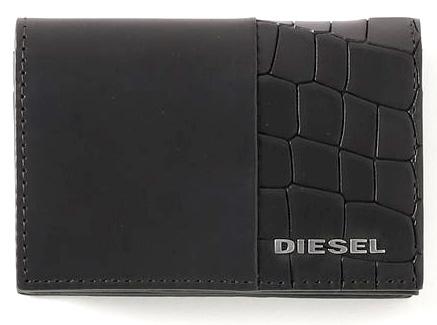 DIESEL ディーゼルクロコ型押し名刺入れシルバーリベットメタルロゴメンズ カードケースブラックカウレザーT8013BKCOWHIDE LEATHER