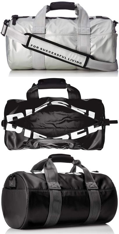DIESEL BOSTON BAGディーゼル ボストンバックトップビッグロゴ ブラック シルバードラム型 フロントポケットショルダーバッグ 旅行用鞄ダッフル カバン バック トラベルバッグT8013T9002SL TRAVELLER travel bag